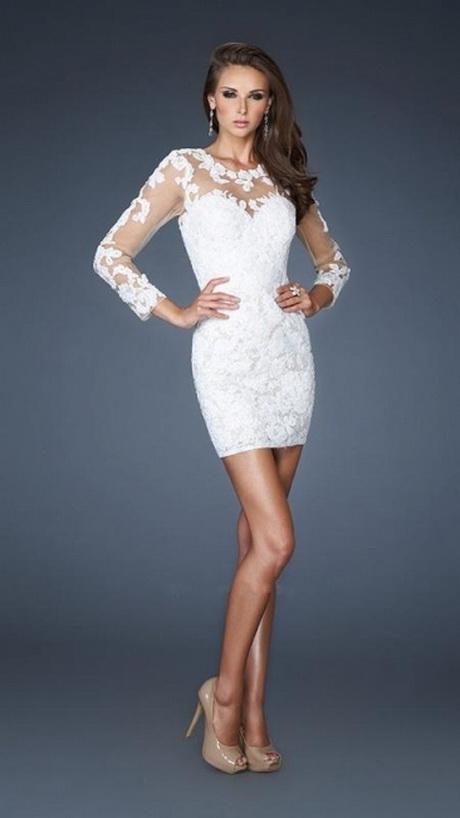 dfd439dca8b4a Courte dentelle blanche manches longues robes de soirée formelle