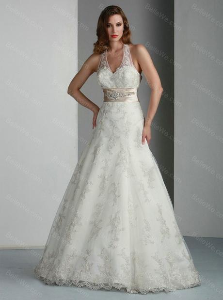 Robe de mariée A-ligne en satin longue bretelles blanche dentelle