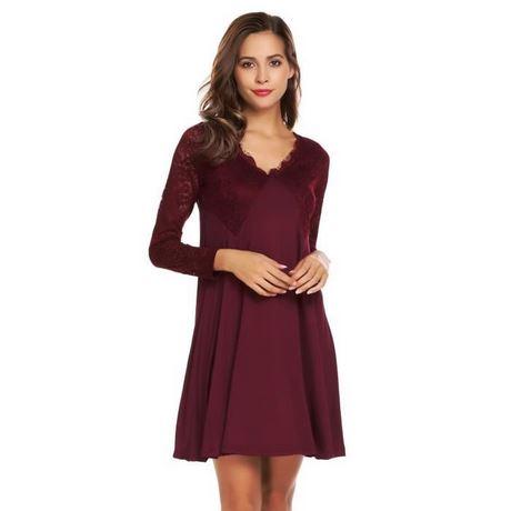 Robe dentelle sexy tunique automne hiver couleur pure décontracté 2d488ef60ffa