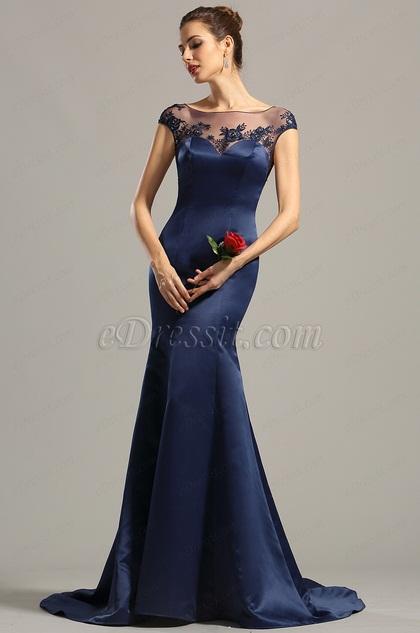 c9ea8851cb731 Beauty B robe de soirée bleu marine