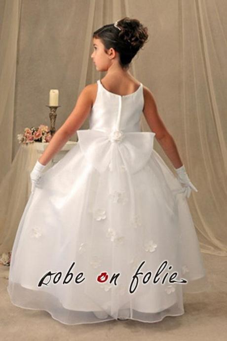 Robe de mariée pour enfant en satin avec décor floral sur la jupe