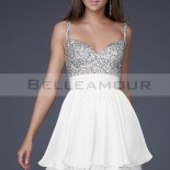 Robe cocktail blanche courte