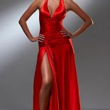 Robe satin rouge