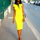 Robe fourreau jaune