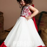 Robe ceremonie fille rouge et blanc