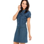 Robe jean manches courtes