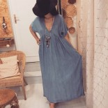 Robe longue denim