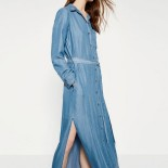 Robe longue en denim