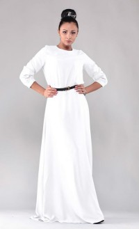Robe longue blanche manches longues