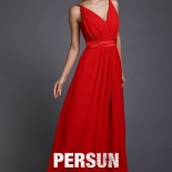 Robe longue rouge cocktail