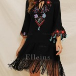 Robe fleurie manches longues