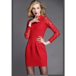 Robe rouge manches longues