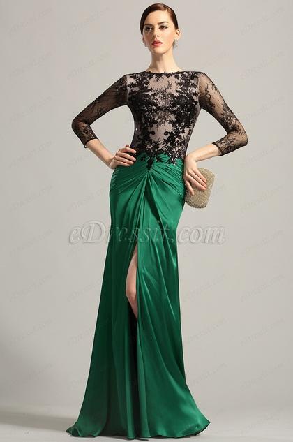 Robe de soiree verte longue