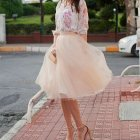 Robe tulle rose poudré